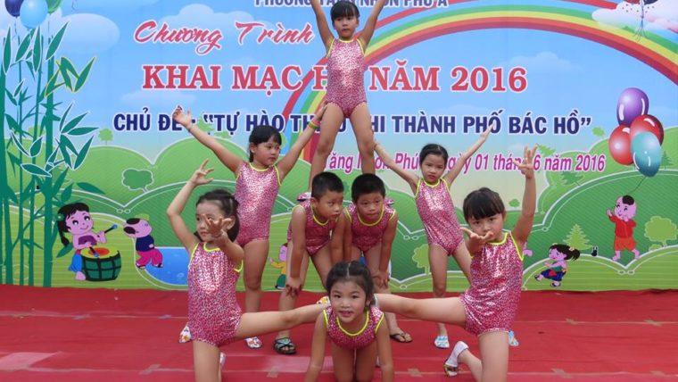 Trường mầm non Ban Mai tham gia cuộc thi Acrobic cấp thành hè 2017