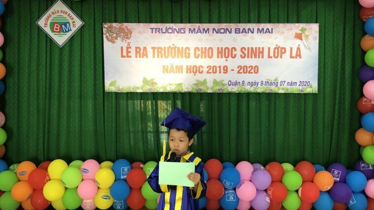 Phát biểu tri ân của bạn Nguyễn Xuân Phúc tại Lễ ra trường cho học sinh lớp Lá năm học 2019 – 2020