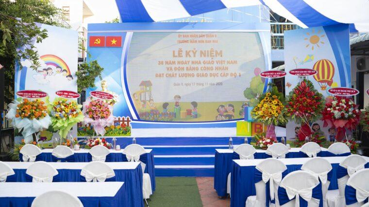 Lễ kỷ niệm 38 năm ngày nhà giáo Việt Nam và đón nhân trường đạt chuẩn chất lượng giáo dục.